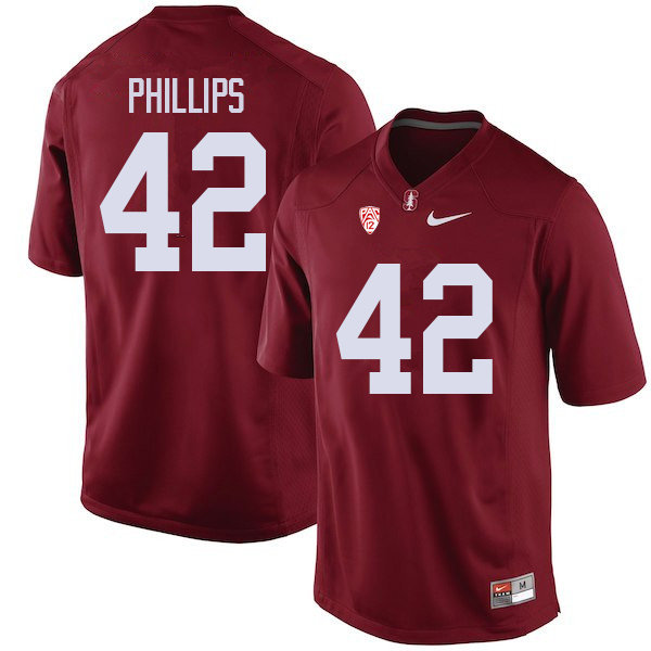 Men #42 Caleb Phillips Stanford Cardinal College Football Jerseys Sale-Cardinal