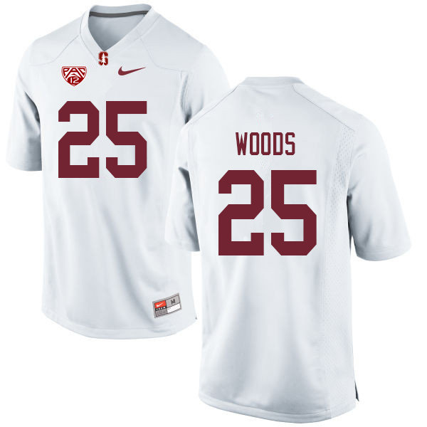Men #25 Justus Woods Stanford Cardinal College Football Jerseys Sale-White