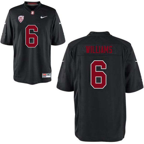 Men #6 Reagan Williams Stanford Cardinal College Football Jerseys Sale-Black