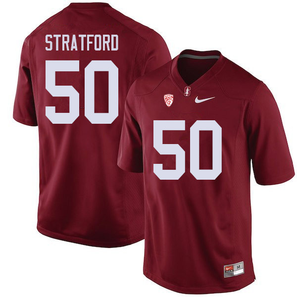 Men #50 Trey Stratford Stanford Cardinal College Football Jerseys Sale-Cardinal