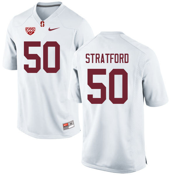 Men #50 Trey Stratford Stanford Cardinal College Football Jerseys Sale-White