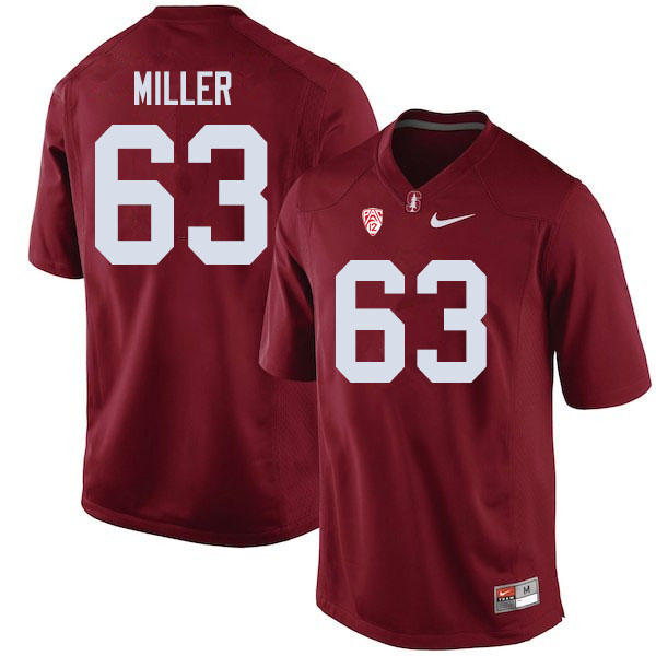 Men #63 Barrett Miller Stanford Cardinal College Football Jerseys Sale-Cardinal