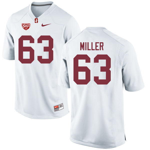 Men #63 Barrett Miller Stanford Cardinal College Football Jerseys Sale-White