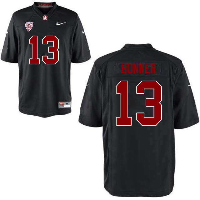Men #13 Ethan Bonner Stanford Cardinal College Football Jerseys Sale-Black