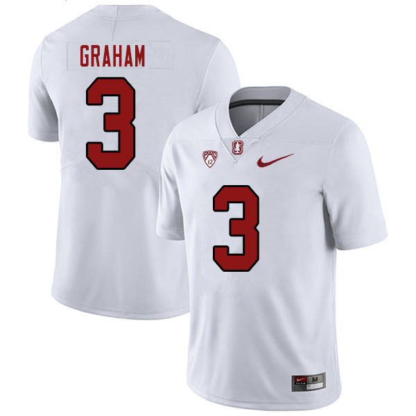 Men #3 Marcus Graham Stanford Cardinal College Football Jerseys Sale-White