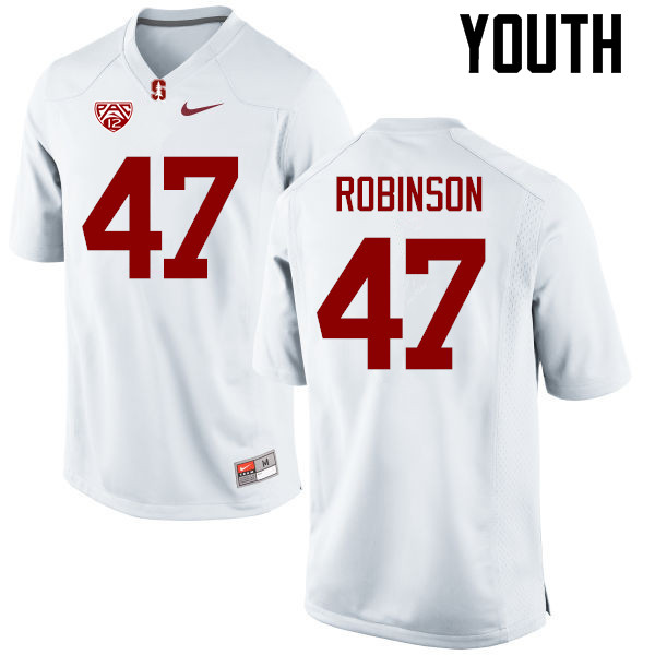 Youth Stanford Cardinal #47 Alex Robinson College Football Jerseys Sale-White
