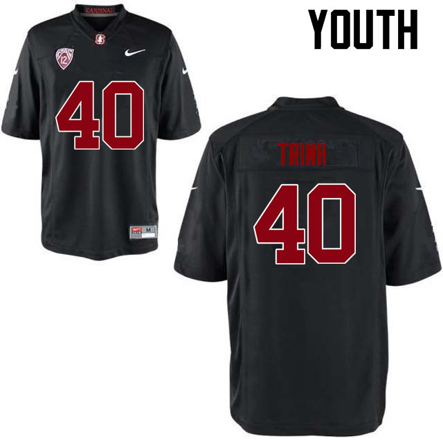 Youth Stanford Cardinal #40 Anthony Trinh College Football Jerseys Sale-Black
