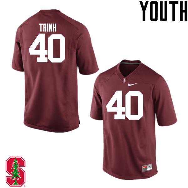 Youth Stanford Cardinal #40 Anthony Trinh College Football Jerseys Sale-Cardinal