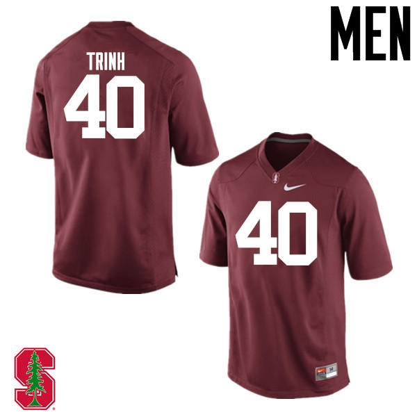 Men Stanford Cardinal #40 Anthony Trinh College Football Jerseys Sale-Cardinal