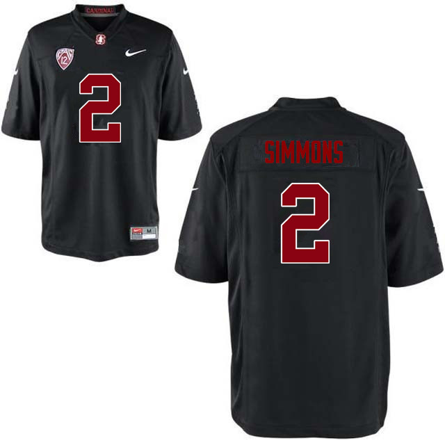 Men Stanford Cardinal #2 Brandon Simmons College Football Jerseys Sale-Black