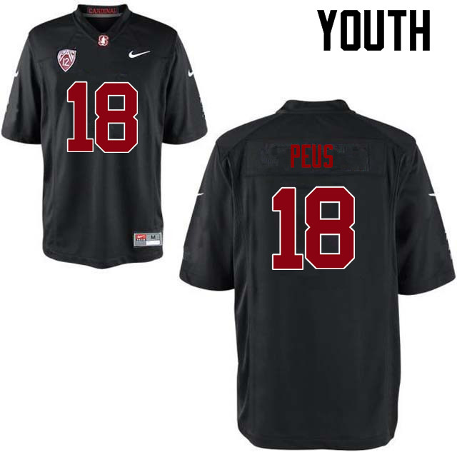 Youth Stanford Cardinal #18 Brent Peus College Football Jerseys Sale-Black