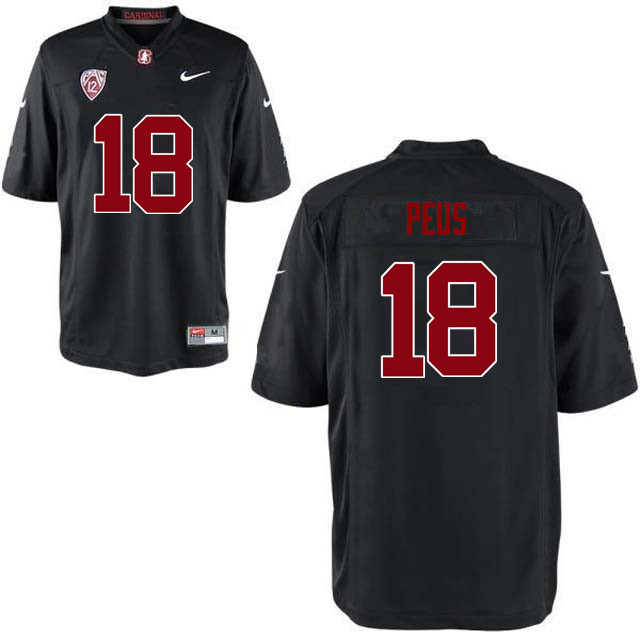 Men Stanford Cardinal #18 Brent Peus College Football Jerseys Sale-Black