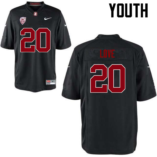 Youth Stanford Cardinal #20 Bryce Love College Football Jerseys Sale-Black