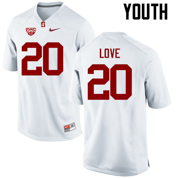 Youth Stanford Cardinal #20 Bryce Love College Football Jerseys Sale-White