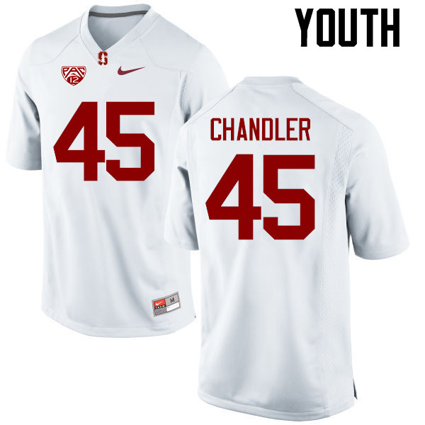Youth Stanford Cardinal #45 Calvin Chandler College Football Jerseys Sale-White