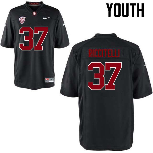 Youth Stanford Cardinal #37 Collin Riccitelli College Football Jerseys Sale-Black