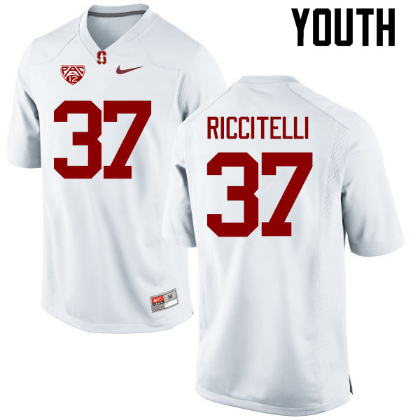 Youth Stanford Cardinal #37 Collin Riccitelli College Football Jerseys Sale-White