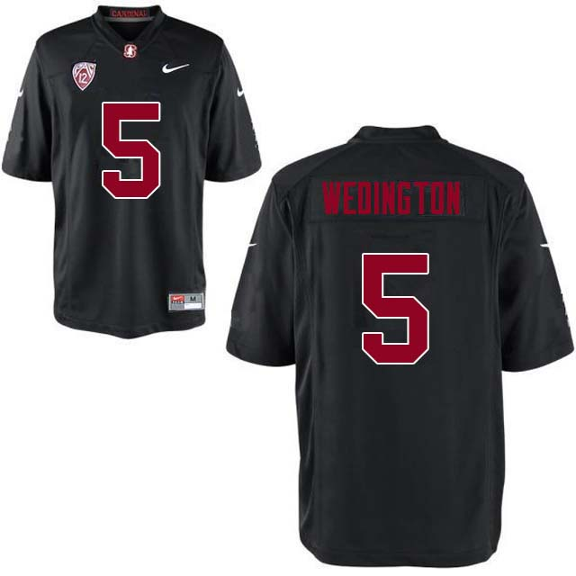 Men Stanford Cardinal #5 Connor Wedington College Football Jerseys Sale-Black