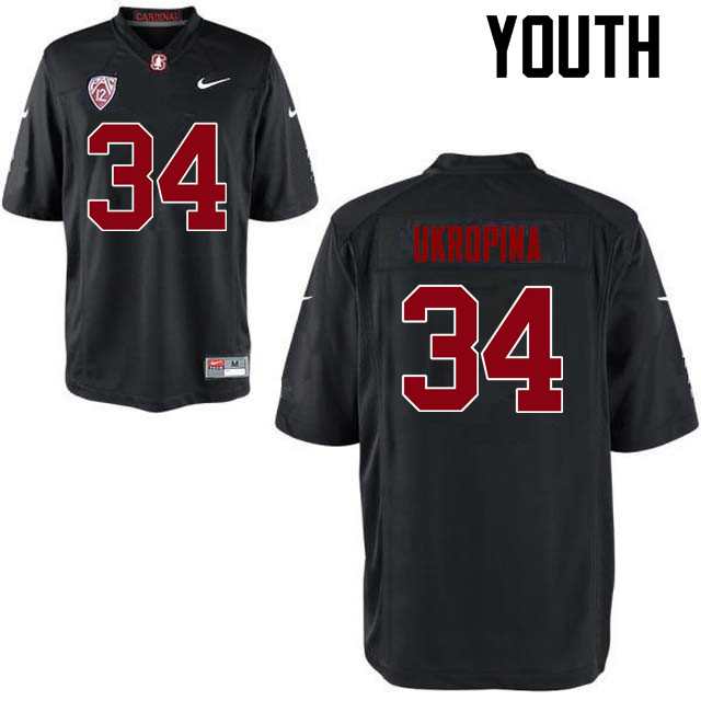 Youth Stanford Cardinal #34 Conrad Ukropina College Football Jerseys Sale-Black