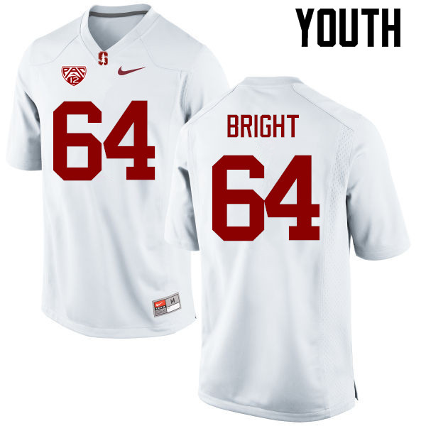 Youth Stanford Cardinal #64 David Bright College Football Jerseys Sale-White