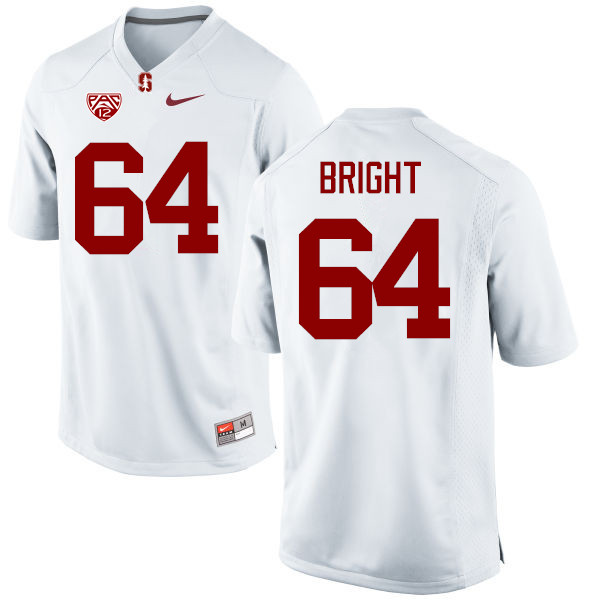 Men Stanford Cardinal #64 David Bright College Football Jerseys Sale-White