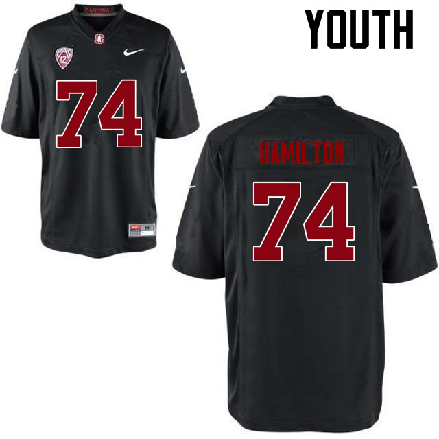 Youth Stanford Cardinal #74 Devery Hamilton College Football Jerseys Sale-Black
