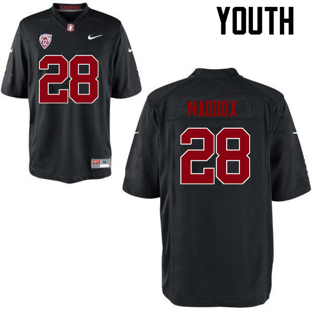 Youth Stanford Cardinal #28 Dorian Maddox College Football Jerseys Sale-Black