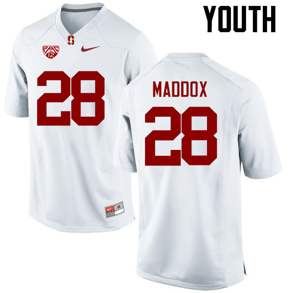 Youth Stanford Cardinal #28 Dorian Maddox College Football Jerseys Sale-White