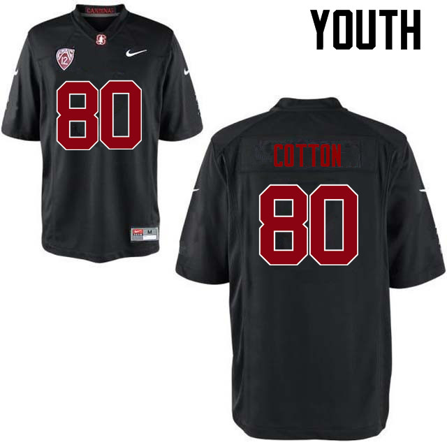 Youth Stanford Cardinal #80 Eric Cotton College Football Jerseys Sale-Black