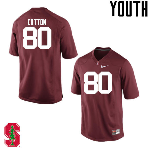 Youth Stanford Cardinal #80 Eric Cotton College Football Jerseys Sale-Cardinal