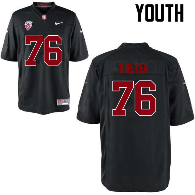 Youth Stanford Cardinal #76 Jack Dreyer College Football Jerseys Sale-Black