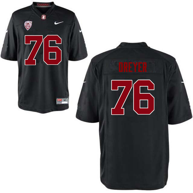 Men Stanford Cardinal #76 Jack Dreyer College Football Jerseys Sale-Black