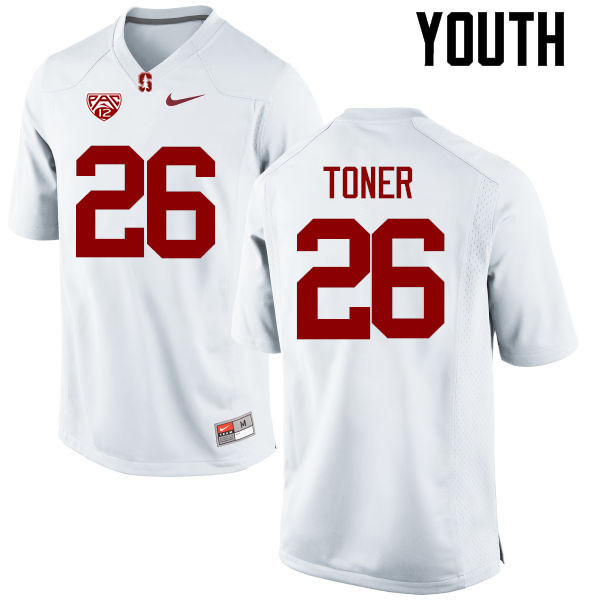 Youth Stanford Cardinal #26 Jet Toner College Football Jerseys Sale-White
