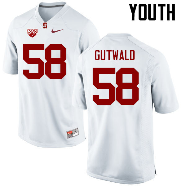Youth Stanford Cardinal #58 Matthew Gutwald College Football Jerseys Sale-White