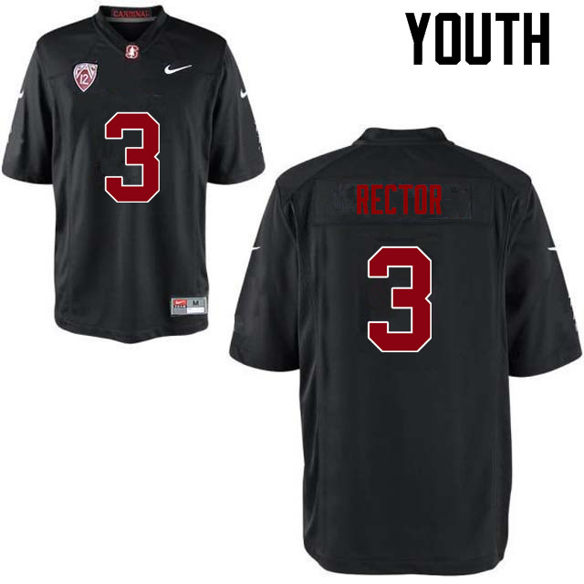 Youth Stanford Cardinal #3 Michael Rector College Football Jerseys Sale-Black