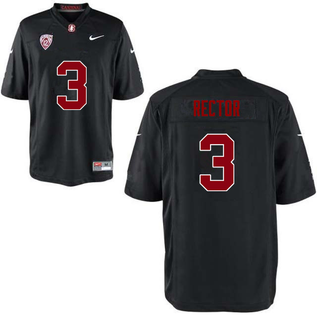 Men Stanford Cardinal #3 Michael Rector College Football Jerseys Sale-Black