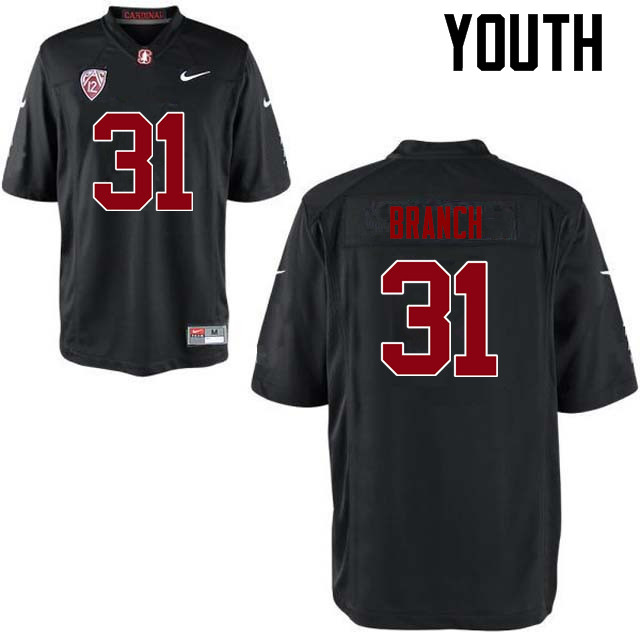 Youth Stanford Cardinal #31 Mustafa Branch College Football Jerseys Sale-Black