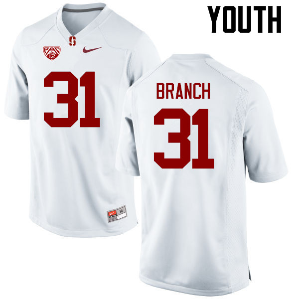 Youth Stanford Cardinal #31 Mustafa Branch College Football Jerseys Sale-White