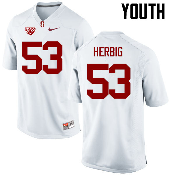 Youth Stanford Cardinal #53 Nate Herbig College Football Jerseys Sale-White