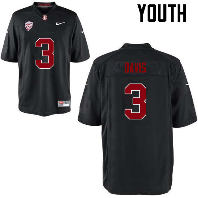 Youth Stanford Cardinal #3 Noor Davis College Football Jerseys Sale-Black