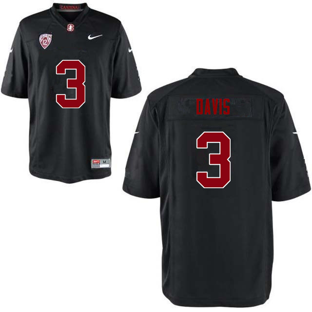 Men Stanford Cardinal #3 Noor Davis College Football Jerseys Sale-Black