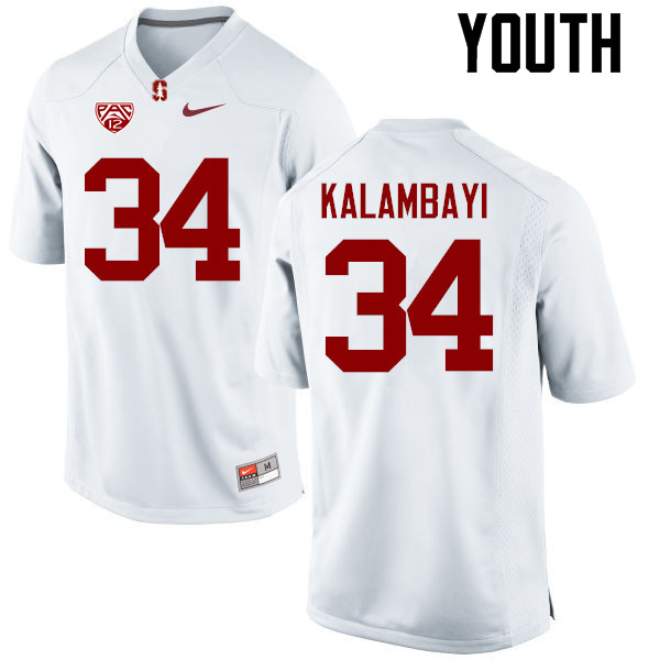 Youth Stanford Cardinal #34 Peter Kalambayi College Football Jerseys Sale-White