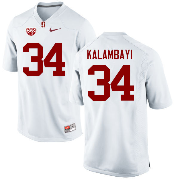 Men Stanford Cardinal #34 Peter Kalambayi College Football Jerseys Sale-White