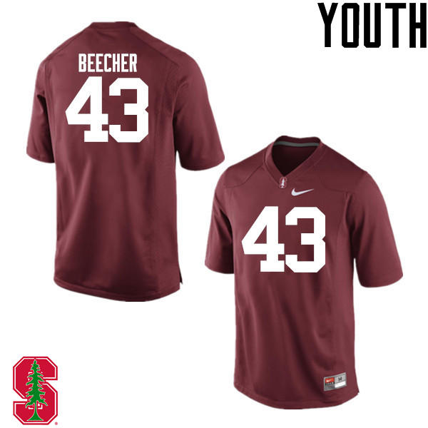 Youth Stanford Cardinal #43 Ryan Beecher College Football Jerseys Sale-Cardinal