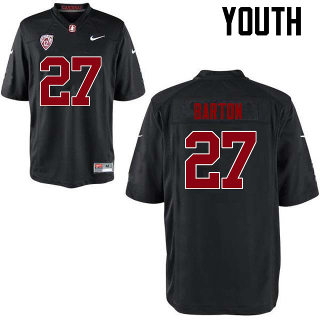 Youth Stanford Cardinal #27 Sean Barton College Football Jerseys Sale-Black