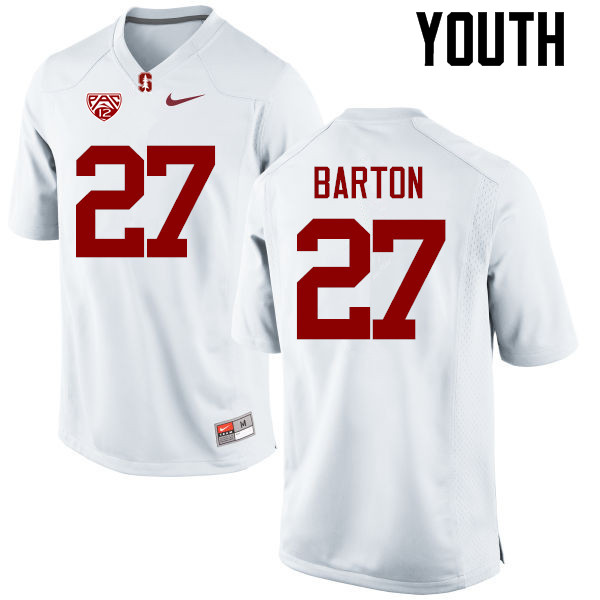 Youth Stanford Cardinal #27 Sean Barton College Football Jerseys Sale-White