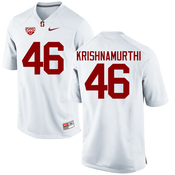 Men Stanford Cardinal #46 Sidhart Krishnamurthi College Football Jerseys Sale-White