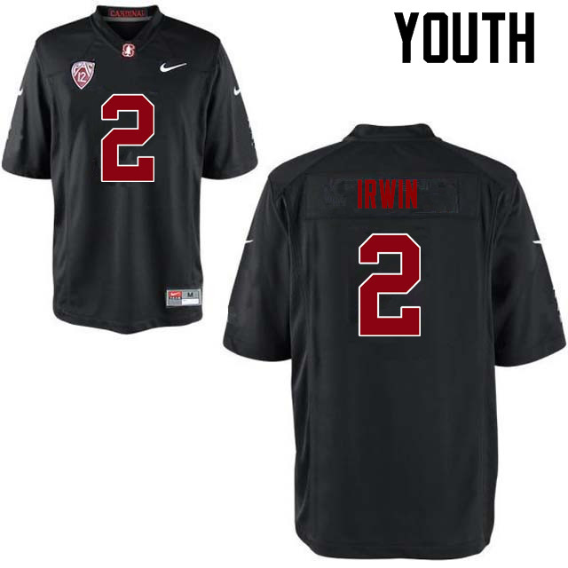 Youth Stanford Cardinal #2 Trent Irwin College Football Jerseys Sale-Black