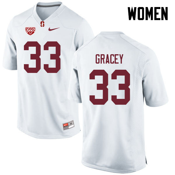 Women #33 Alex Gracey Stanford Cardinal College Football Jerseys Sale-White