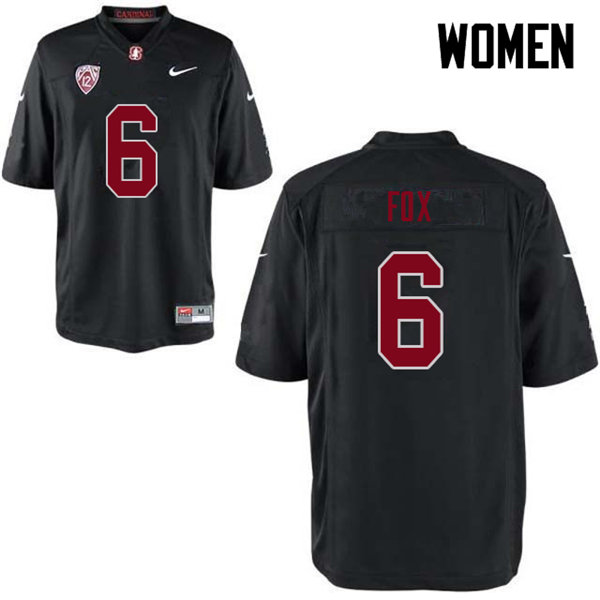 Women #6 Andres Fox Stanford Cardinal College Football Jerseys Sale-Black